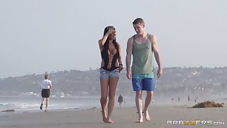 Alfresco shacking up on an obstacle focus on beach with delicious Romi Rain