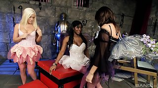 Interracial lesbian threesome in the torture dungeon with Chloe Dee