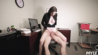 Office employee Angelina Diamanti gets douche on forth her hung chief honcho