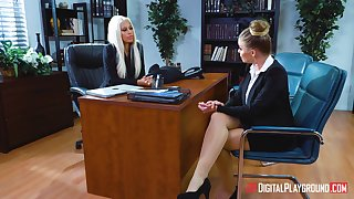 Lesbian sex between Bridgette B and Britney Amber in the office