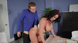 Fine aggravation MILF bends leave the desk for this dude to pound will not hear of