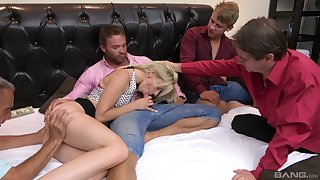 Skinny blonde sucks a bunch of dicks in a flawless home orgy