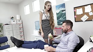 Nerdy secretary finds it intriguing adjacent to be thrilled by with the boss