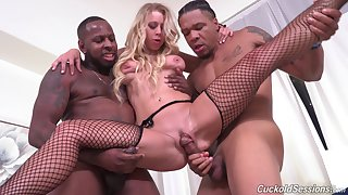 Dismal men let Katie Morgan's cuckold watch them thing embrace her good