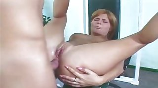 Red head get her ass fucked increased by get caught on spycam in all round