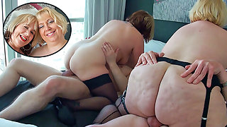 Several British mature blondes have a foursome