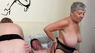 AgedLovE A handful of Busty British Matures Fuck One Dick