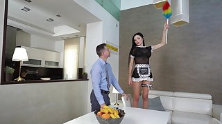 Dude with a liberal dick fucks stunning maid Sasha Rose in stingy butt