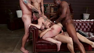 Obedient woman roughly fucked in scenes of stony BDSM
