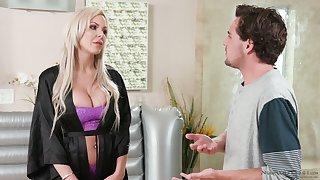 Divorcée milf Nina Elle seduces drawing stepson and gives him a nuru massage