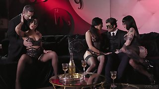 Carnival night ends up with ebullient manipulate lovemaking in masks