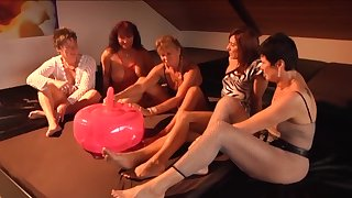 Inflatable prom dildo getting tested by a bring about of horny mature women